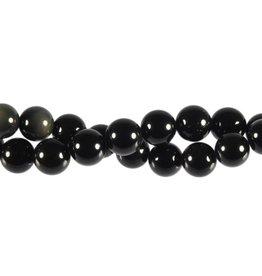 Obsidiaan (regenboog) kralen rond 10 mm (streng van 40 cm)