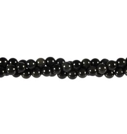 Obsidiaan (regenboog) kralen rond 6 mm (streng van 40 cm)