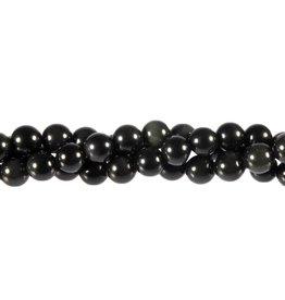 Obsidiaan (regenboog) kralen rond 8 mm (streng van 40 cm)