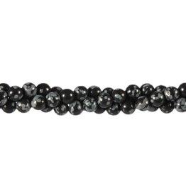 Obsidiaan (sneeuwvlok) kralen rond 6 mm (snoer van 40 cm)