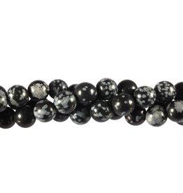 Obsidiaan (sneeuwvlok) kralen rond 8 mm (snoer van 40 cm)