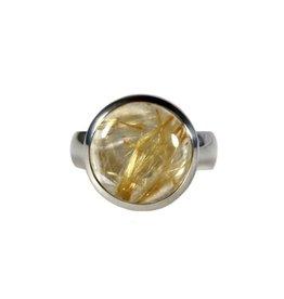 Zilveren ring rutielkwarts maat 18 | rond 1,4 cm