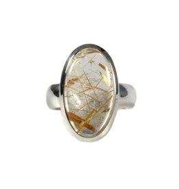 Zilveren ring rutielkwarts maat 18 1/4 | ovaal 2 x 1,1 cm