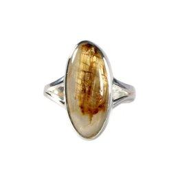 Zilveren ring rutielkwarts maat 17 3/4 | ovaal 2 x 0,9 cm