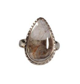 Zilveren ring rutielkwarts maat 18 1/4 | druppel 2 x 1,3 cm