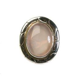Zilveren ring rozenkwarts maat 16 3/4 | ovaal graveerde rand