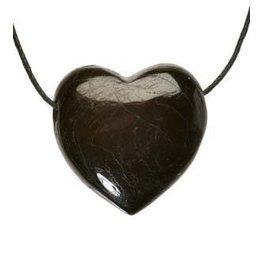 Toermalijn (zwart) hanger hart doorboord