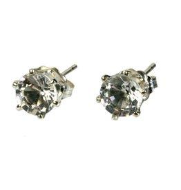 Zilveren oorstekers bergkristal gefacetteerd 5 mm