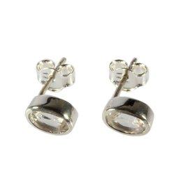 Zilveren oorstekers bergkristal ovaal facet 7 x 5 mm