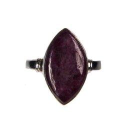 Zilveren ring robijn maat 17 1/2 | markies