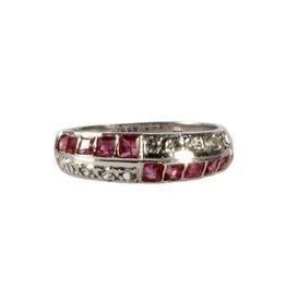 Zilveren ring robijn en zirkonia maat 16 | rechthoek