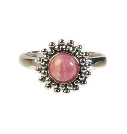 Zilveren ring rhodochrosiet maat 17 1/4 | rond bolletjes