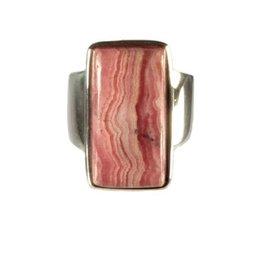 Zilveren ring rhodochrosiet maat 18 1/4 | rechthoek 2,1 x 1,1 cm