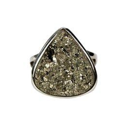 Zilveren ring pyriet maat 18 1/4 | druppel 1,8 x 1,8 cm