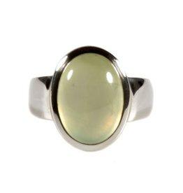 Zilveren ring prehniet maat 17  | ovaal 1,4 x 1 cm
