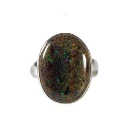 Zilveren ring opaal (zwart) maat 17 1/2 | ovaal 2 x 1,4 cm