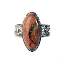 Zilveren ring opaal (vuur) maat 17 3/4 | 2,2 x 1 cm