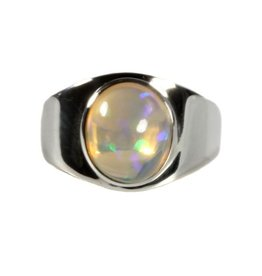 Zilveren ring opaal (edel) maat 17 3/4 | ovaal 1 x 0,8 cm  (4)