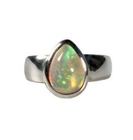 Zilveren ring opaal (edel) maat 17 1/4 | druppel 1,1 x 0,8 cm