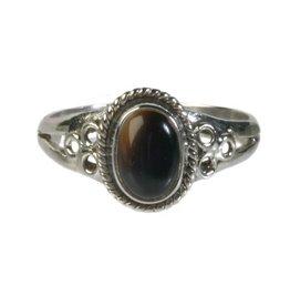 Zilveren ring onyx maat 18 | ovaal cirkels