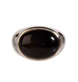Zilveren ring onyx maat 17 1/2 | liggende ovaal