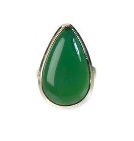 Zilveren ring onyx (groen) maat 18 1/2 | druppel