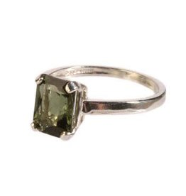 Zilveren ring moldaviet maat 17 1/2 | rechthoek