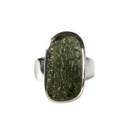 Zilveren ring moldaviet maat 18 3/4 | rechthoek 2,2 x 1,2 cm