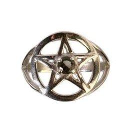 Zilveren ring moldaviet maat 19 | pentagram