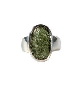 Zilveren ring moldaviet maat 17 | ovaal 1,5 x 1 cm
