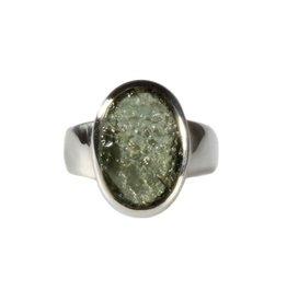 Zilveren ring moldaviet maat 16 1/2 | ovaal 1,5 x 1 cm