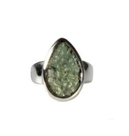 Zilveren ring moldaviet maat 17 1/2 | druppel 1,8 x 1,1 cm