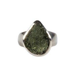 Zilveren ring moldaviet maat 17 | druppel 1,5 x 1,2 cm