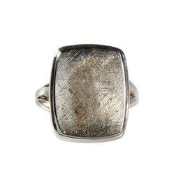 Zilveren ring meteoriet maat 18 3/4 | rechthoek 1,9 x 1,6 cm