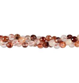 Red healer kralen rond facet 6 mm (snoer van 40 cm)