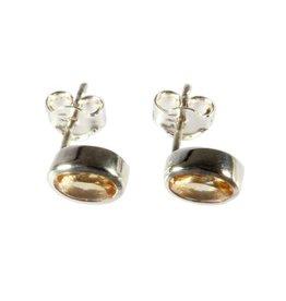 Zilveren oorstekers citrien (verhit) ovaal facet 7 x 5 mm