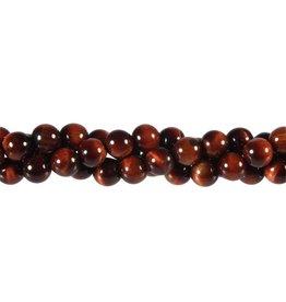 Tijgeroog (rood) kralen rond 8 mm (snoer van 40 cm)