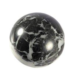 Anhydriet met zwavel en zwarte kalksteen edelsteen bol 73 mm