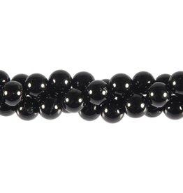 Toermalijn (zwart) kralen rond 8 mm (streng van 40 cm)