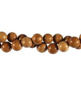 Versteend hout kralen rond 10 mm (streng van 40 cm)