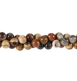 Versteend hout kralen rond 8 mm (snoer van 39 cm)