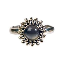 Zilveren ring maansteen (grijs) maat 17 1/4 | rond bolletjes