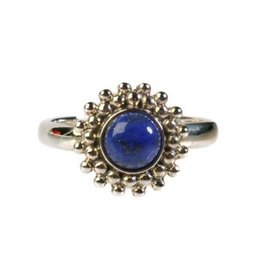 Zilveren ring lapis lazuli maat 17 1/4 | rond bolletjes