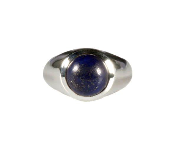 Zilveren ring lapis lazuli maat 16 | rond 9 mm