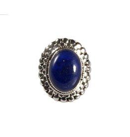 Zilveren ring lapis lazuli maat 16 3/4 | ovaal bolletjes 1,7 x 1,3 cm