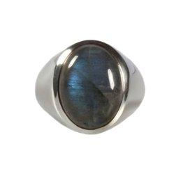 Zilveren ring labradoriet maat 21 3/4   ovaal 17 x 13 mm