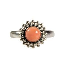 Zilveren ring koraal (natuurlijk roze) maat 17 1/4 | rond bolletjes