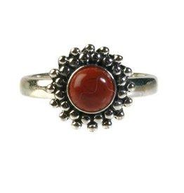 Zilveren ring jaspis (rood)  maat 17 1/4 | rond bolletjes