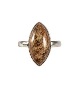 Zilveren ring jaspis (landschap) maat 18 1/4 | markies 2 x 1 cm
