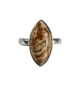 Zilveren ring jaspis (landschap) maat 17 1/2 | markies 2 x 1 cm
